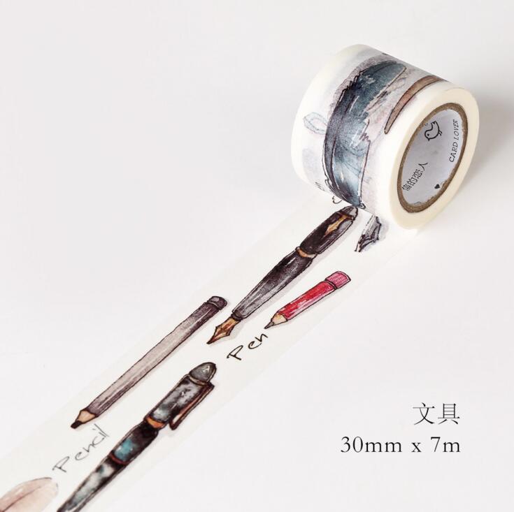 JG101  3CM Wide Daily Stationery Pens Washi Tape DIY Scrapbooking Sticker Label Masking Tape School Office Supply