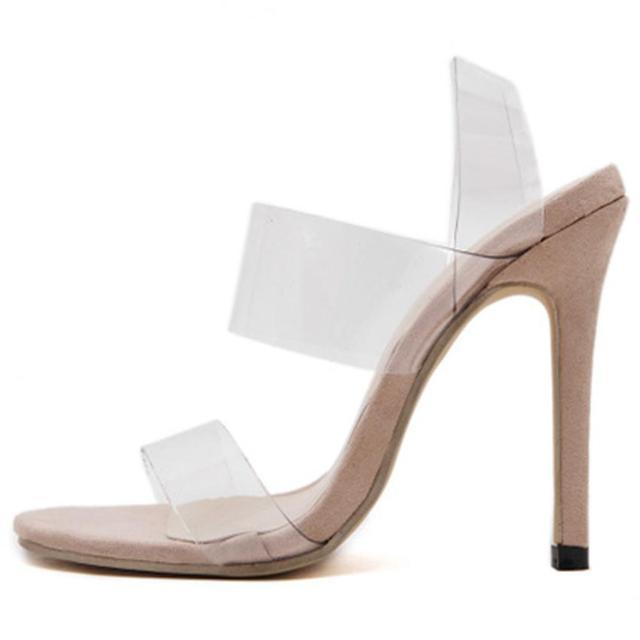 Estilo de design da marca Sexy Sandália de PVC Claro e Transparente de Volta Cinta Sandálias De Salto Alto Plus Size Personalizado Mulheres Sapatos Stilettos
