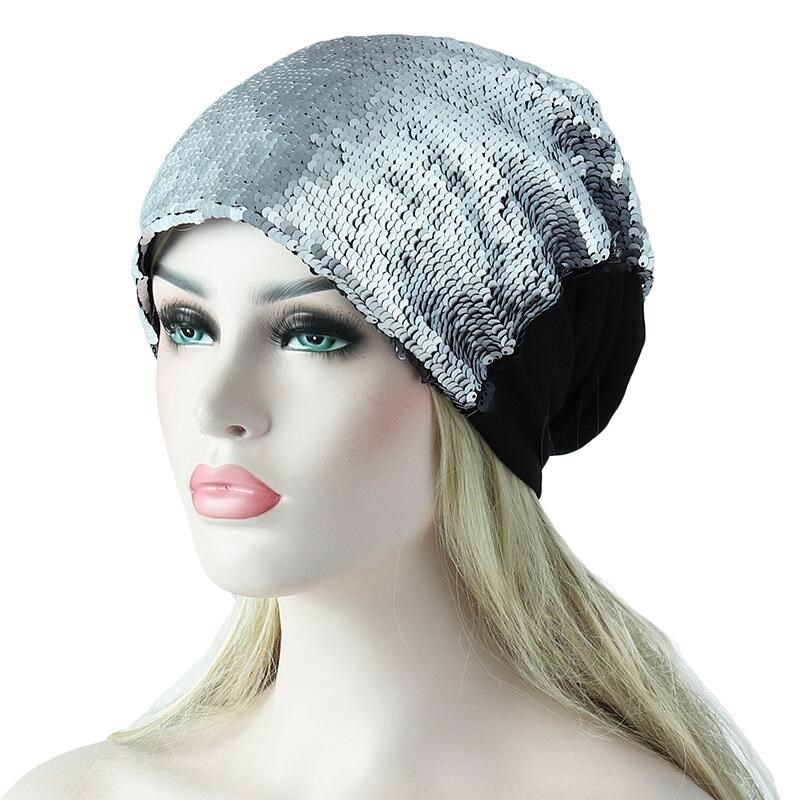 2018 Women Knitted Paillette Bling Cap Casual Glossy   Beanies   Hat Hip-Hop   Skullies     Beanie   Sequin Caps Soft Warm Slouch Hat