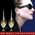 2017 nueva promoción naturaleza Austria Pendientes de Cristal de Plata de Ley 925 estilo Coreano Corto mujeres adornos de regalo de cumpleaños femenino