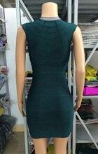 Dark Green V neck Front Zipper Celebrity Bandage Dress