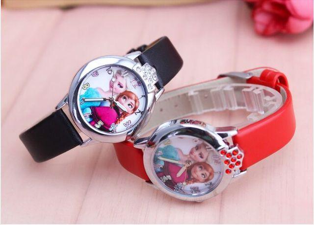 Miglior bambini orologio Elsa Anna principessa di strass vigilanza del fumetto Intelligente della ragazza di modo Del Capretto casuale cuoio DELL'UNITÀ di elaborazione orologi orologi regalo
