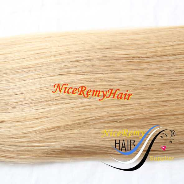 100% virgin braid hair bleached in blonde color 24# machine weft weaving remy hair extension silk straight 100g/piece4pieces/lot