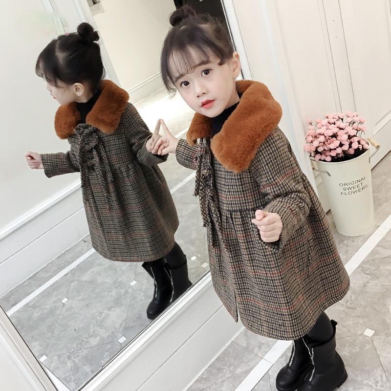 3b596939f729 Korean Kids Girl Outwear Coat Winter Jackets Warm Plaid Children ...