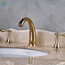 Высокое качество и lucurious ванной кран Две ручки и одно отверстие Матовый никель стиль горячей и холодной воды