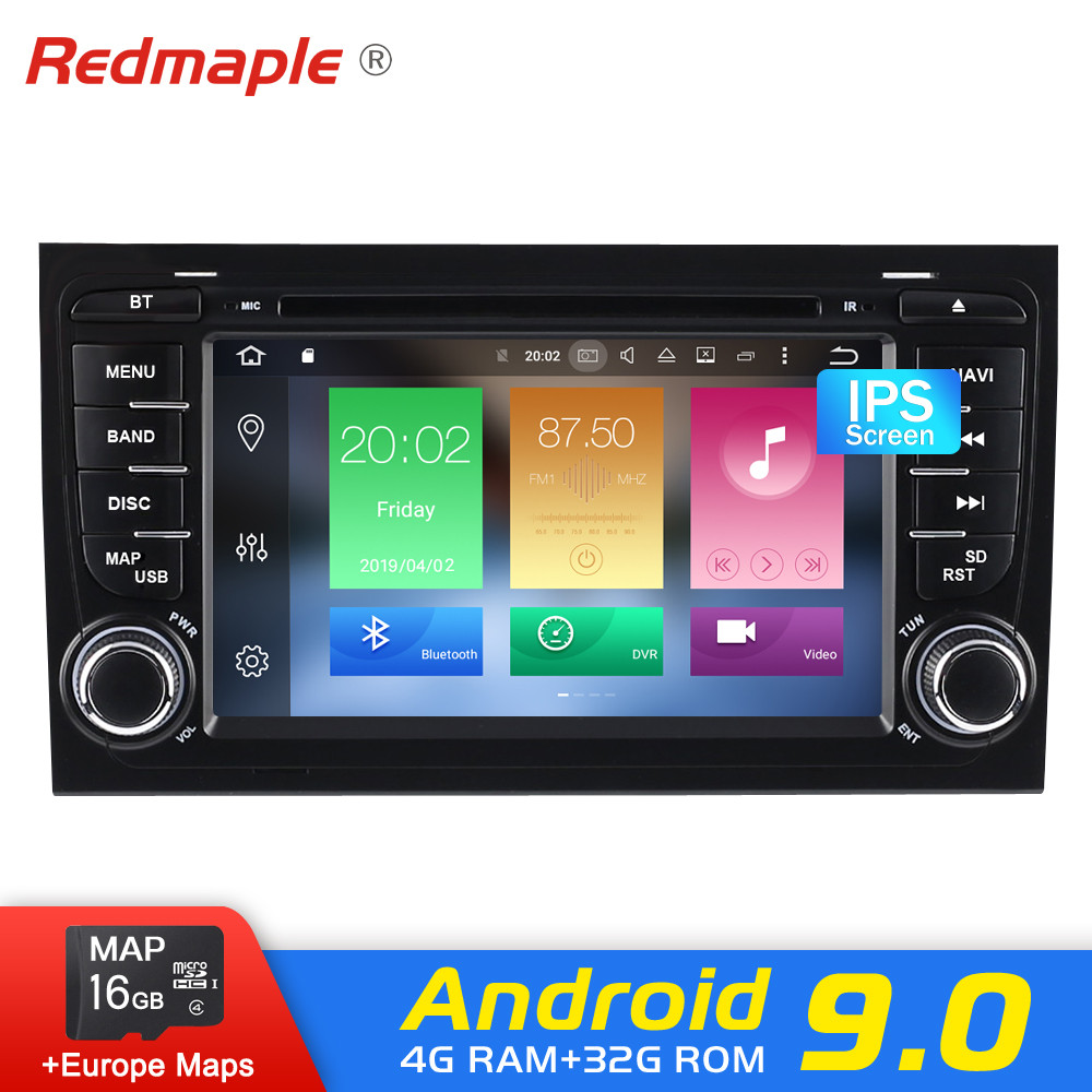 Android 9.0 car Radio DVD Multimedia player for Audi A4 S4 2002-2008 Auto Audio Bluetooth GPS stereo Video Navigation