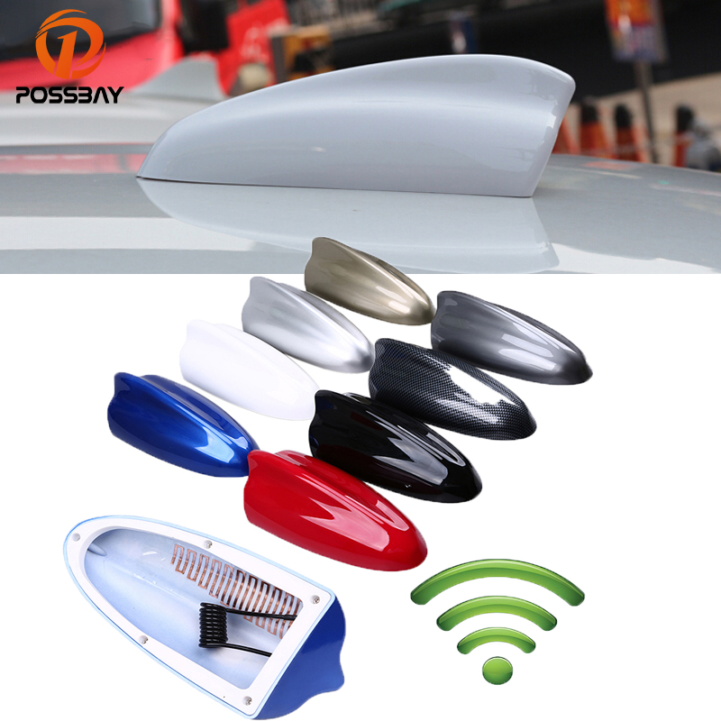 POSSBAY AM Aerials Black/White/Silver/Blue/Red/Gray/Gold Shark Fin Super Antenna FM Signal Amplifier Car Roof Decoration