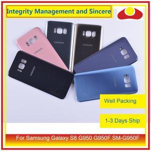 Image 1 - 10 pièces/lot pour Samsung Galaxy S8 G950 G950F SM G950F boîtier batterie porte arrière en verre housse châssis coque
