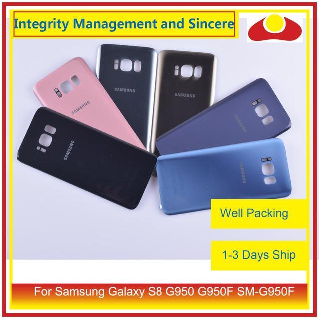 50 pièces/lot pour Samsung Galaxy S8 G950 G950F SM G950F boîtier batterie porte arrière couvercle en verre coque châssis