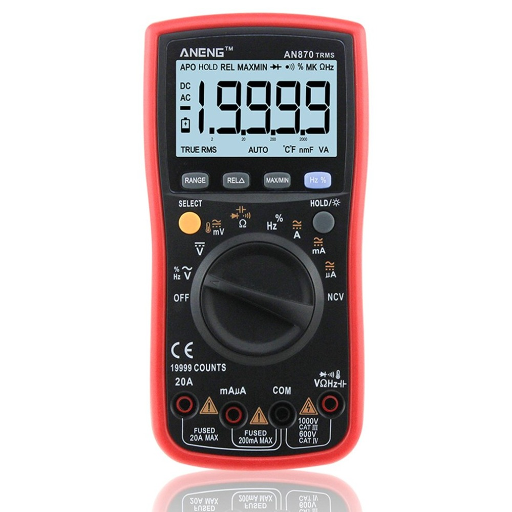 ANENG AN870 True RMS Multímetro Digital 19999 Counts AC/DC Volt Amp Ohm Capacitância Frequência Temperatura NCV Transistor Tester