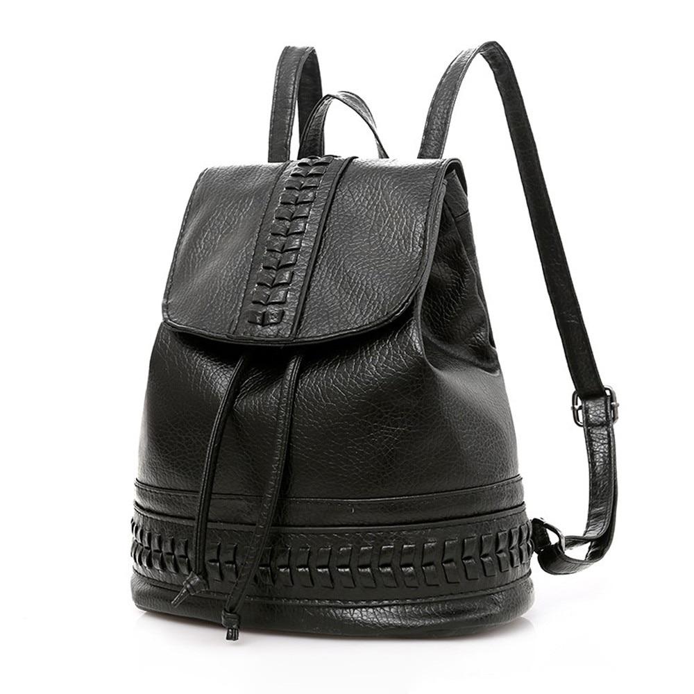 Nucelle Women Pu Leather Backpack Fashion Female Rivet Flower Real Genuine Purse Daily Blue Black School Girl Leisure Student Schoolbag Double Shoulder Travel Carrier Back Pack