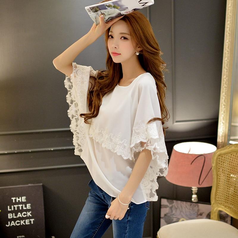 Original 2016 Brand Shirts Female Summer Cloak Sleeve Lace Embroidery Loose font b Classic b font