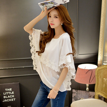 Original 2016 Brand Shirts Female Summer Cloak Sleeve Lace Embroidery Loose Classic Elegant White Poncho Blouse Woemn
