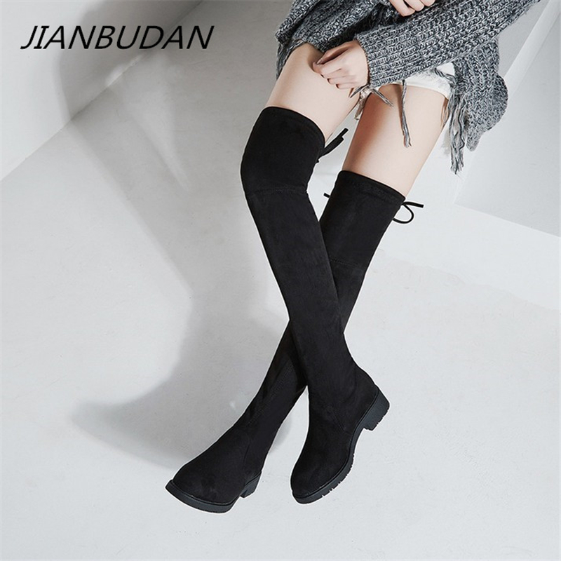 JIANBUDAN women 39 s autumn sexy thigh high boots Suede Flat heel winter plush over the knee boots black Female Stretch boots 35 43 in Over the Knee Boots from Shoes