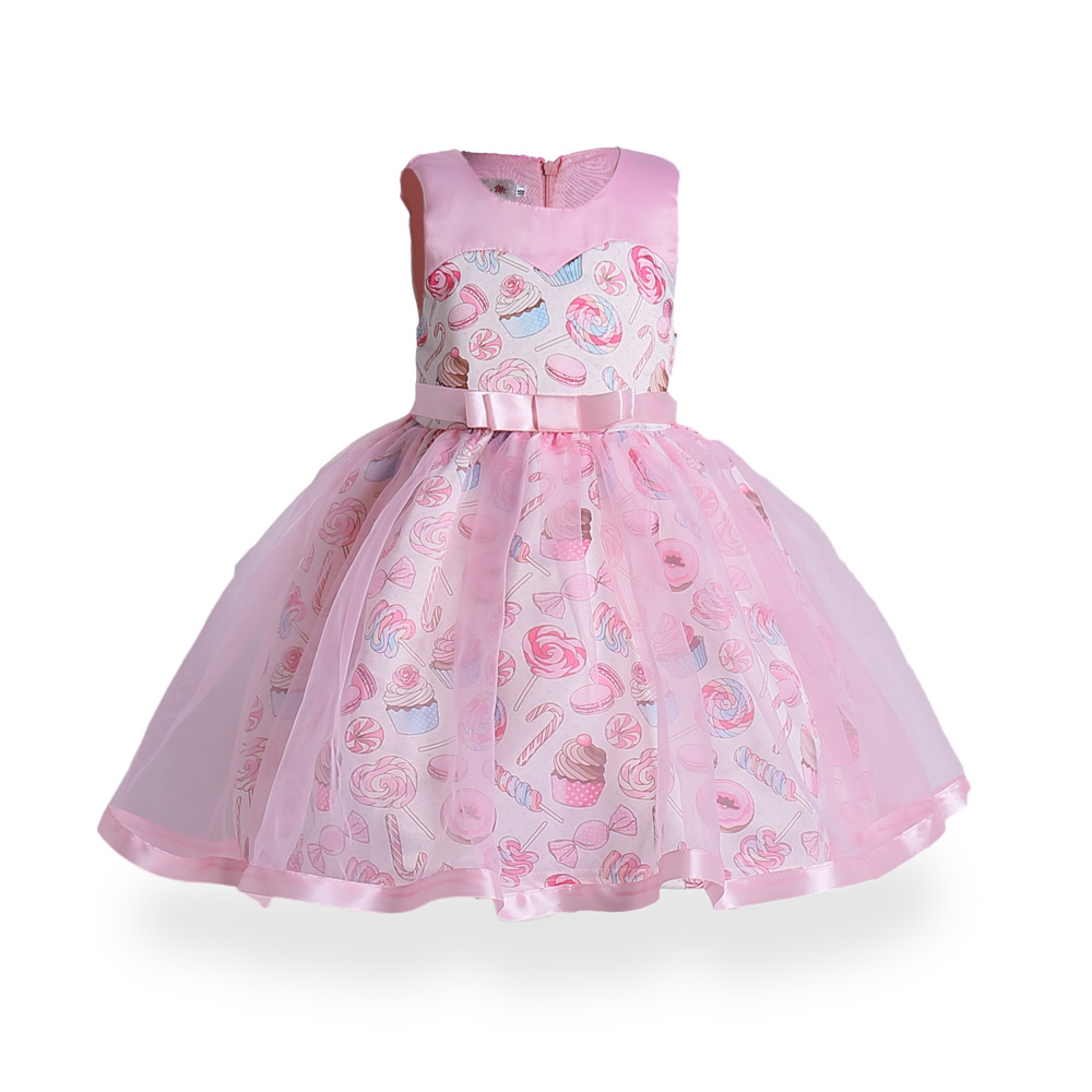 Fancy Pink Bow Princess Kids Girls Dress Pink Birthday Wedding Party Baby Dresses Fancy Candy Cupcake Children Frocks 3-9 Years