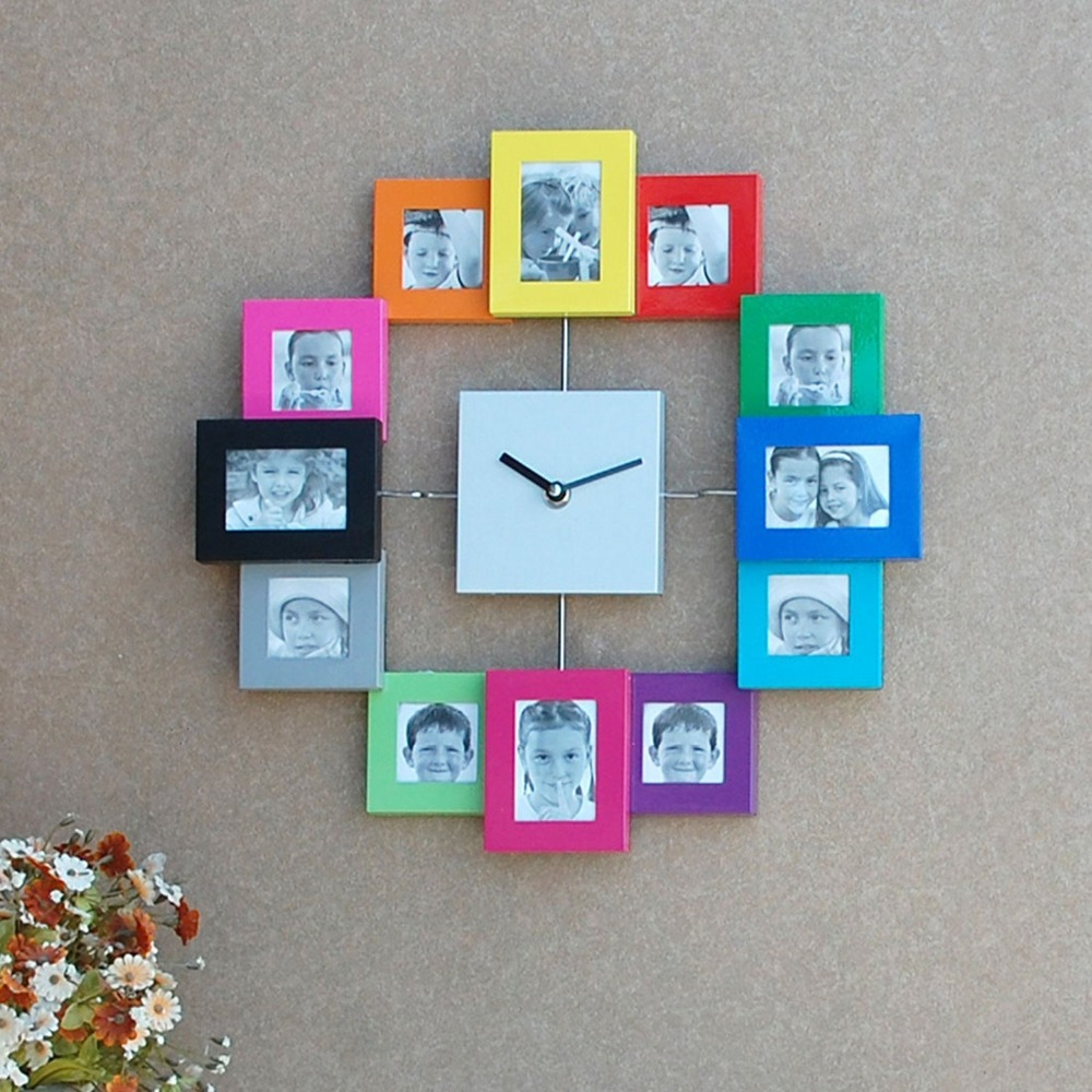 Clock gift picture more detailed picture about stylish multi stylish multi photo frame wall clockmodern 12 multi pictures frame display quartz wall amipublicfo Gallery