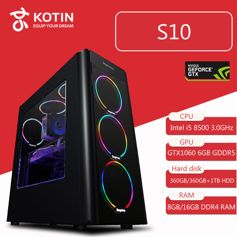 KOTIN S10 Desktop PC Gaming Computer Intel I5 8500 GTX 1060 6GB Video Card 360GB SSD 8GB/16GB RAM 6 Colorful Fans 500W PSU image