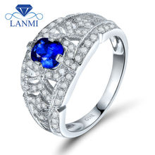 0.53 Carat Diamond Solid 18K White Gold Cushion 4x5mm Genuine Blue Sapphire Wedding Ring Gemstone Diamond Jewelry WU263
