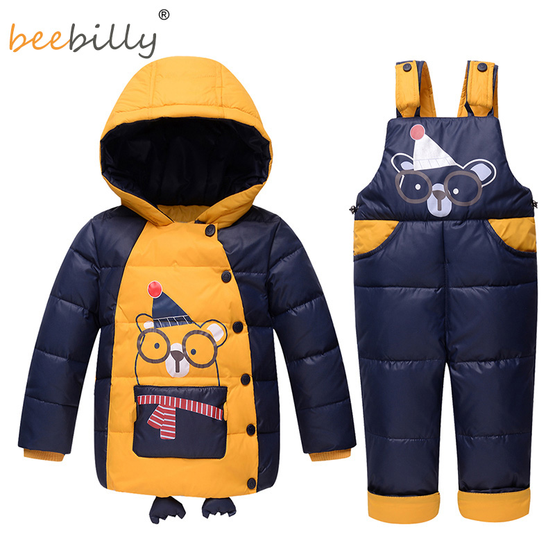 2017 Winter Baby Boy Clothing Set Russia Warm Baby Girl Ski Suits Sets Baby Boy's Outdoor Sport Kids Down Coats Jackets+trousers 30degrees winter baby clothing set russia baby girl ski suit sets boy s outdoor sport kids down coats jackets trousers fur