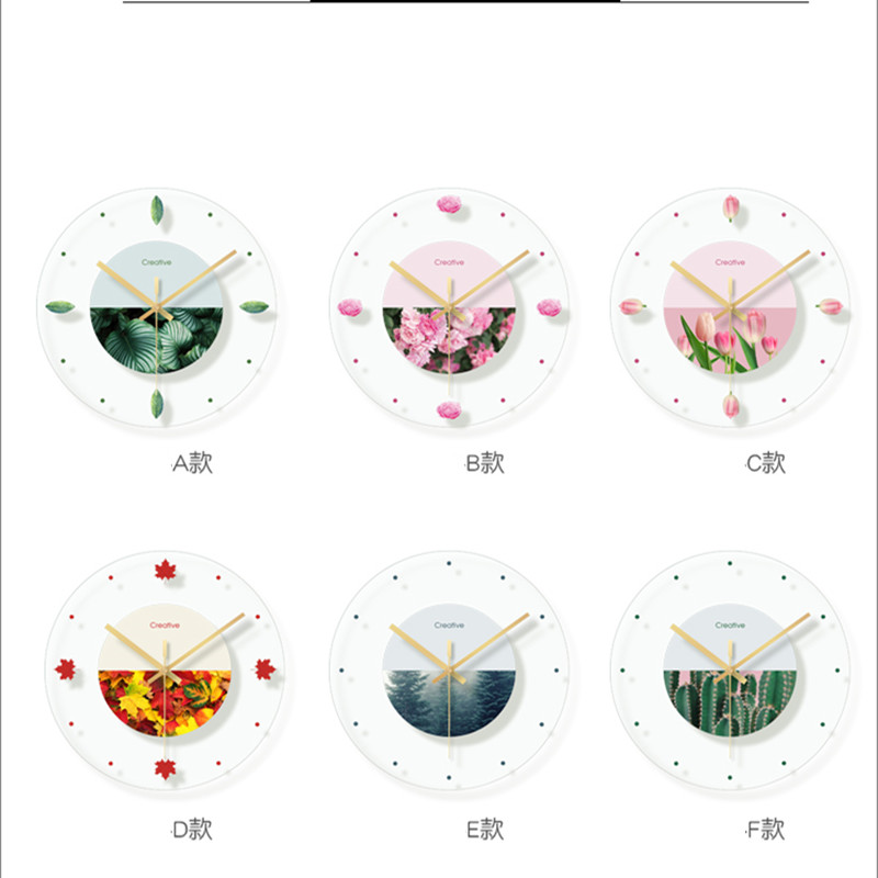 Green plant flower decoration wall hanging room clock (6)