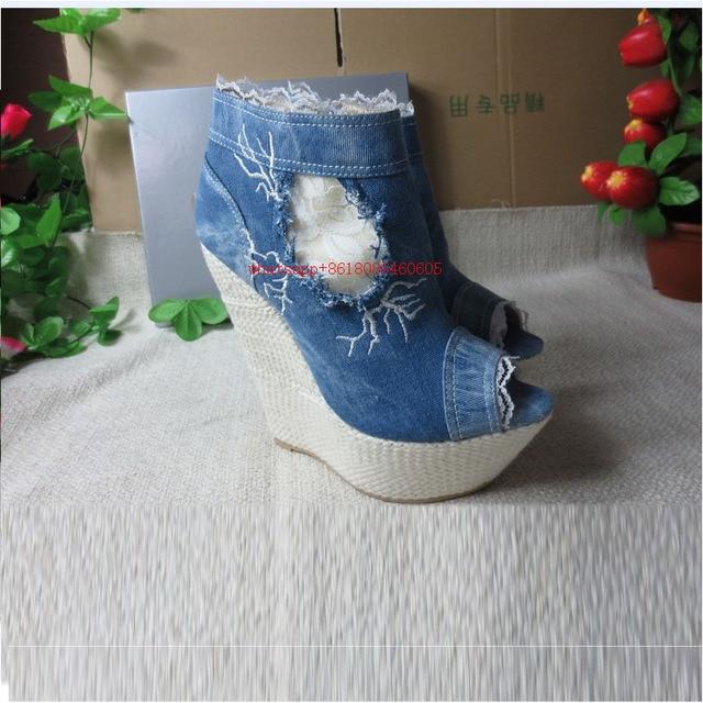 91199e1bfbc Choudory Sandalias plataforma 2017 summer shoes wedges blue denim jean  sandal boots high heels ladies gladiator shoes woman 2017