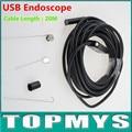 Высокая Точность USB 2-МЕГАПИКСЕЛЬНАЯ Камера 20 М кабель 720 P камеры-обскуры с 6 LED 9 мм Объектив USB Эндоскоп IC20H Водонепроницаемый IP66 змея камеры