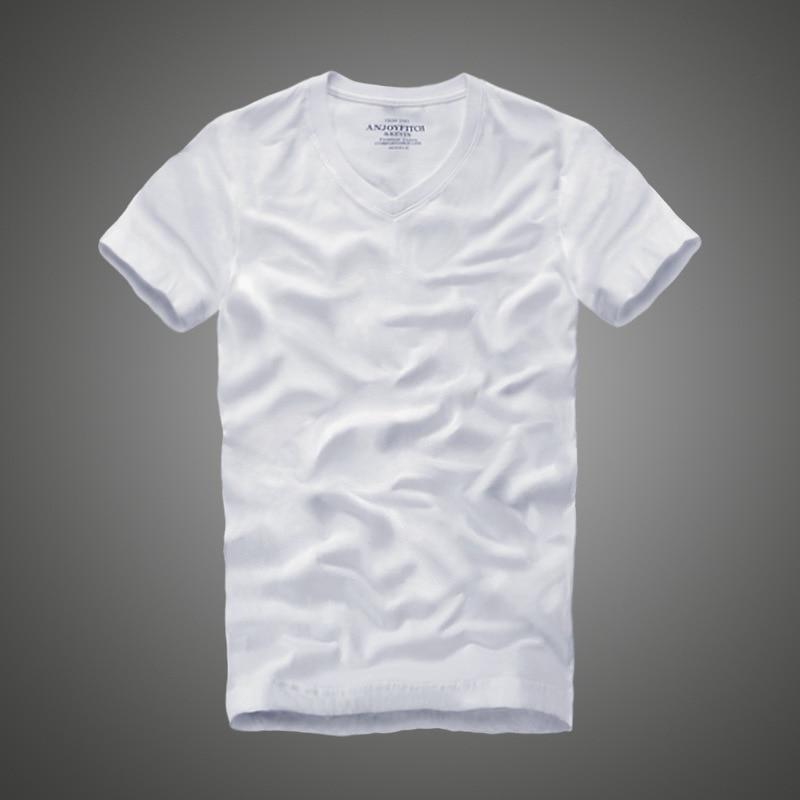 T     shirt   100% cotton solid V-Neck short sleeve men tshirt