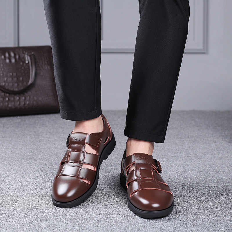 Erkek sandalet hakiki deri sandalet erkekler açık rahat erkekler deri sandalet plaj ayakkabısı roma ayakkabı artı boyutu 38- 47