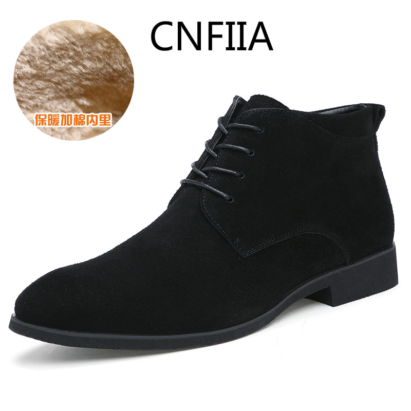 CNFIIA Men Boots Chelsea Shoes Winter Men Boots Winter with Fur 2018 Warm Snow Ankle Black Brown Gray New Male Casual Shoes plush casual suede shoes boots mens flat with winter comfortable warm men travel shoes patchwork male zapatos hombre sg083