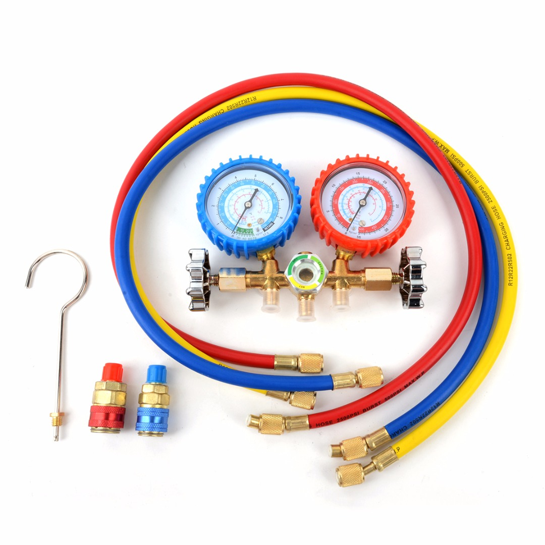R134a Manifold Gauge 90cm for R12 R22 R502 HVAC A/C Refrigerant with Charging Hose Quick Couplers Straight Adapter Mayitr r22 r12 r134 a c manifold high and low pressure gauge three pipes with imperial adapter refrigerator parts