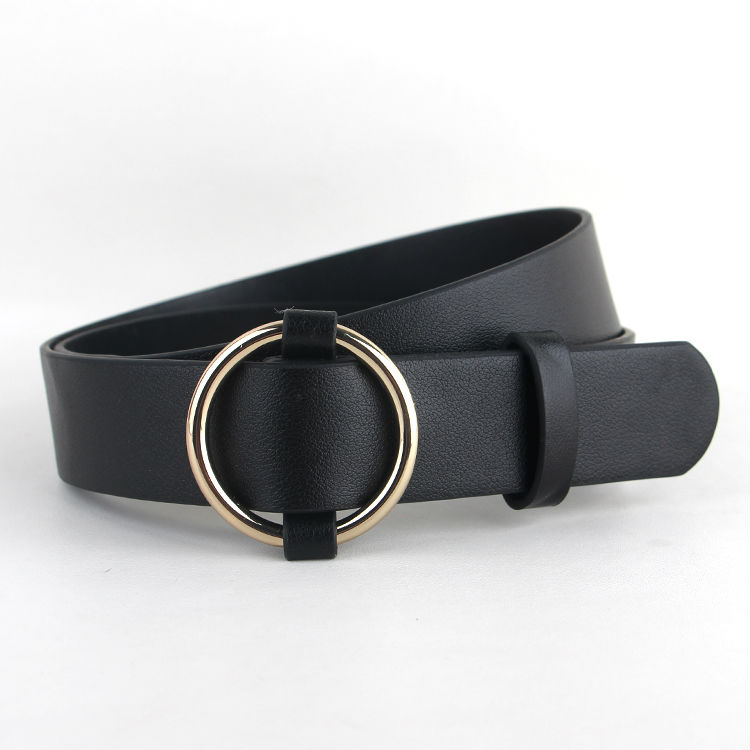Newest Gold Round Buckle Belts Female HOT Leisure Jean Wild Silver Without Pin Metal Buckle Brown Leather Black Strap Belt Women