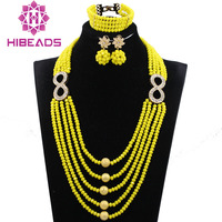 Indian Necklace Set 2017 Nigerian Wedding Beads Crystal Jewelry Sets Yellow African Beads Jewelry Set Bridesmaid Free ShipABH379