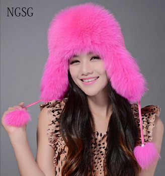 Sombrero de piel de invierno sombreros orejeras bombardero ruso sombreros  de nieve para las mujeres ushanka mongol tapas para borla touca de Pele rosa bbaedb32ea1