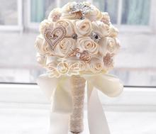 AYiCuthia Stunning Wedding flowers White Bridesmaid Bridal Bouquets artificial Rose Bouquet S17