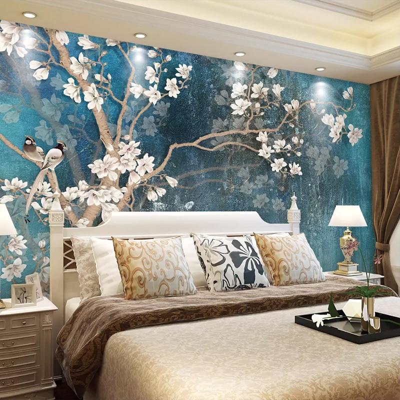 Bedroom Art Mural: Custom 3D Wall Murals Wallpaper Nordic Blue Vintage Hand