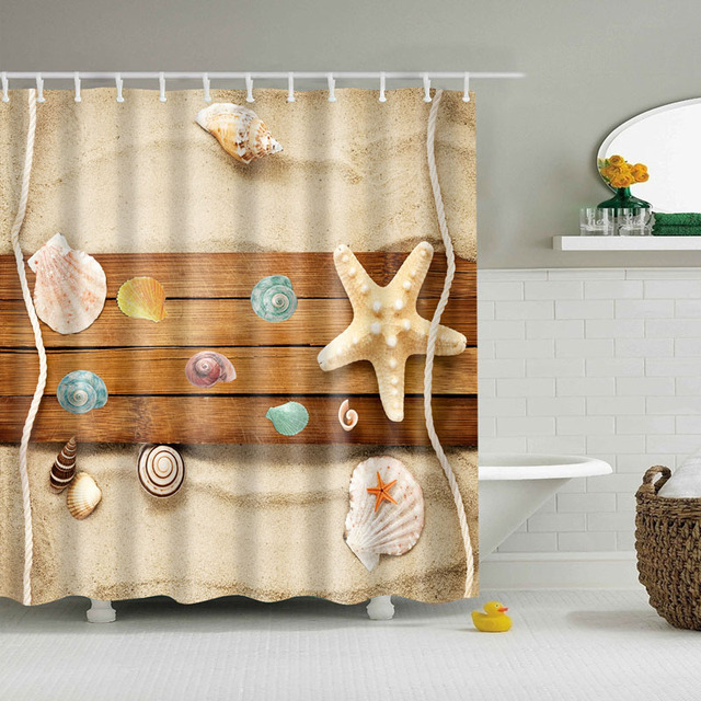 2018 Luxury Smart Beach Starfish Wood Shell Shower Curtains Custom Design Curtain Bathroom Waterproof Polyester