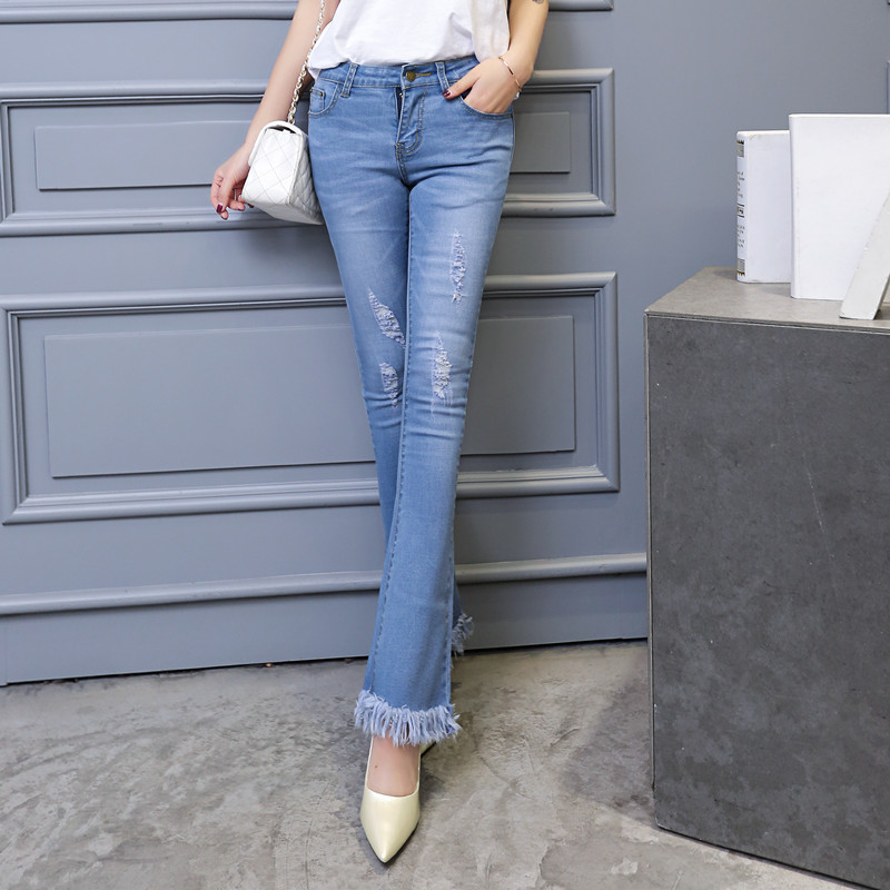 Jeans Boyfriend Denim Jeans For Women Hole Ripped Jeans Casual Harem Pants Female Elastic Waist Skinny Denim Jeans Girl Blue Reliable Performance