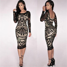 Women Dress New Fashion Women Sexy Bodycon Bandage Cocktail Party Long Sleeve Lace Dress Dropshipping 2018