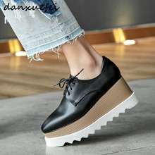 플러스 사이즈 33 42 여성 정품 가죽 플랫폼 플랫 oxfords lacce up 봄 새로운 여성 레저 신발 고품질 신발