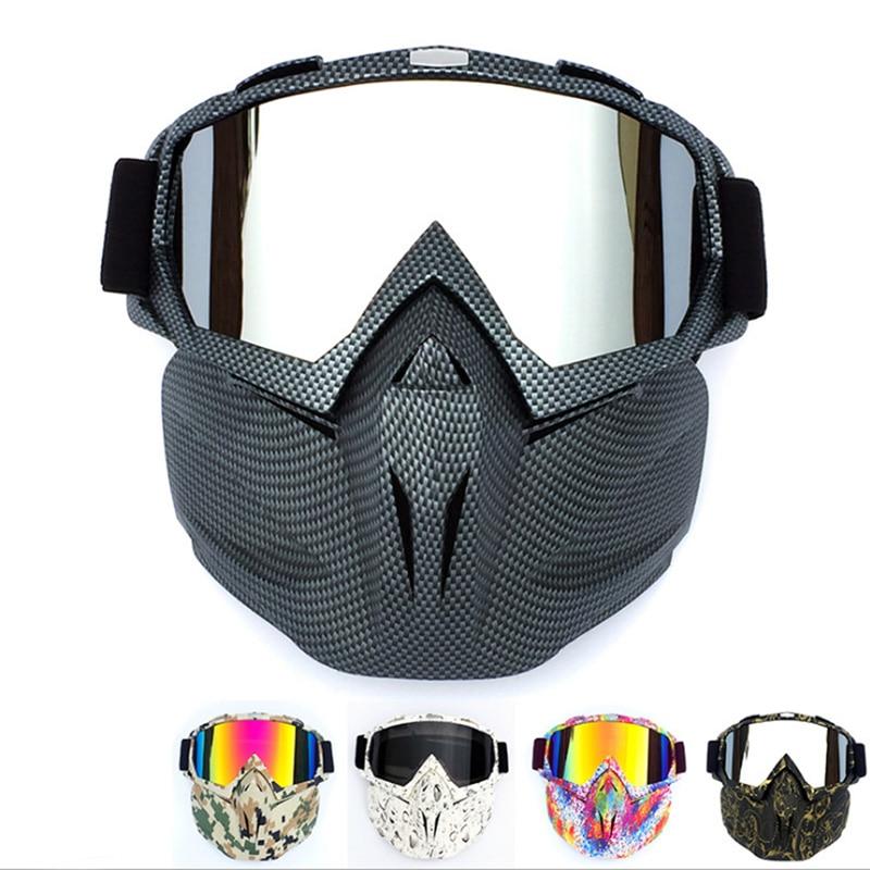 Slēpju velosipēdu motociklu sejas maska aizsargbrilles Motocross motociklu motoriem atvērtas sejas noņemamas brilles ķiverēm Vintage brilles Universal
