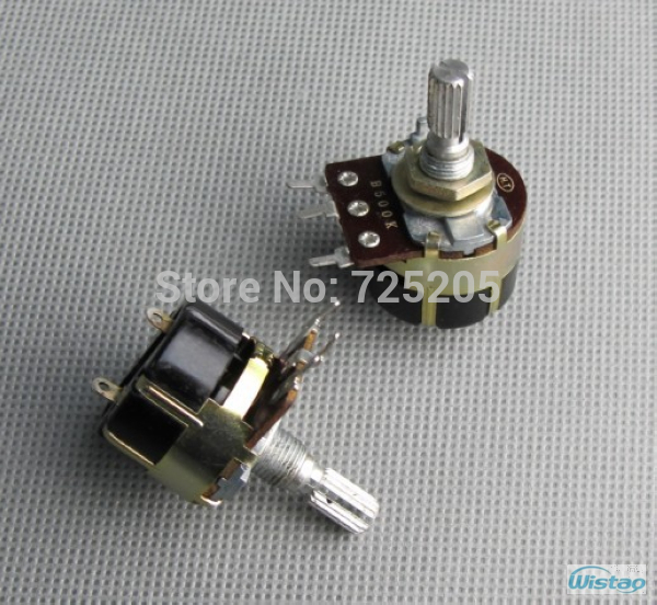 Rotary Power Switch Two Pins with font b Potentiometer b font B500K Stalk Shaft Length 20mm