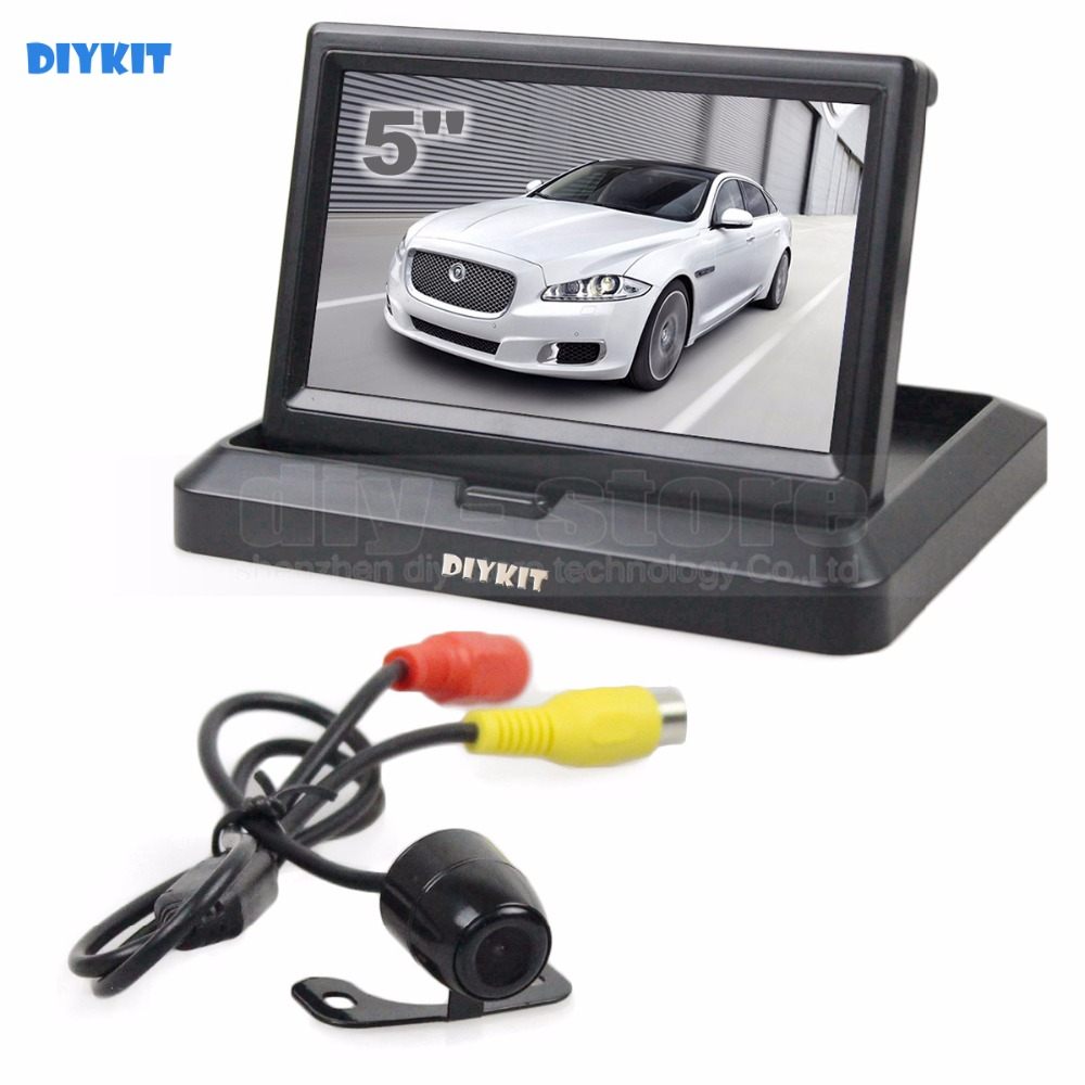 DIYKIT 5 Inch Foldable Rear View Monitor Car Monitor Waterproof Rear View Car Camera Parking System Kit