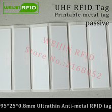 UHF RFID Ultrathin anti-metal tag 915mhz 868m Alien H3 EPCC1G2 ISO18000-6C fixed assets 95*25*0.8mm PET passive RFID PET Label