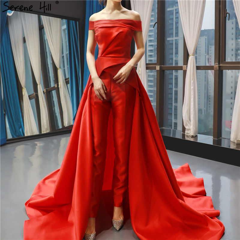 Evening Dresses Persevering Red Boat Neck Simple Sexy Evening Dresses 2019 Satin Off Shoulder Jumpsuit Evening Gowns Serene Hill Hm66846 To Be Distributed All Over The World