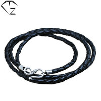 Genuine Leather Chain 925 Sterling Silver Necklace For Women Men Jewelry Accessories Black Thai S925 Solid