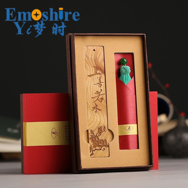 retro de madeira chines bookmarks bookmarks logotipo personalizado mogno m054 02