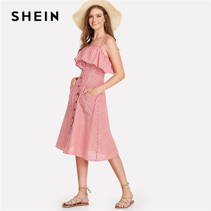 SHEIN Bouton Up Volant Garniture Rayé Robe 2018 D'été De Courroie De Spaghetti Sans Manches Taille Haute Jeune Robe Fille Preppy Robe