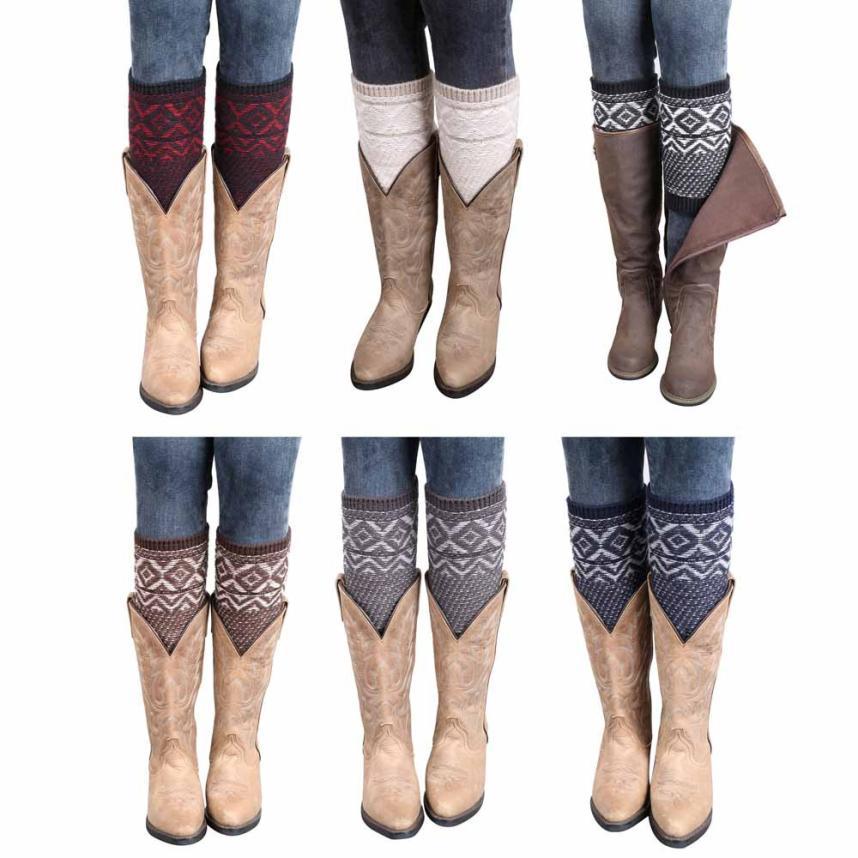 Black Friday VOT7 vestitiy 2017 Fashion 23*11cm Jacquard Knitted Leg Warmers Socks Boot Cover,Aug 16