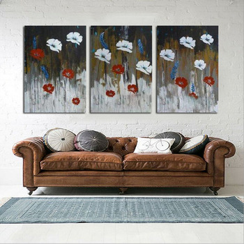 Pure Hand Painted Oil Painting On Canvas Home Decor 3 peice Abstract White and Red Flower Decorative Wall Pictures Art