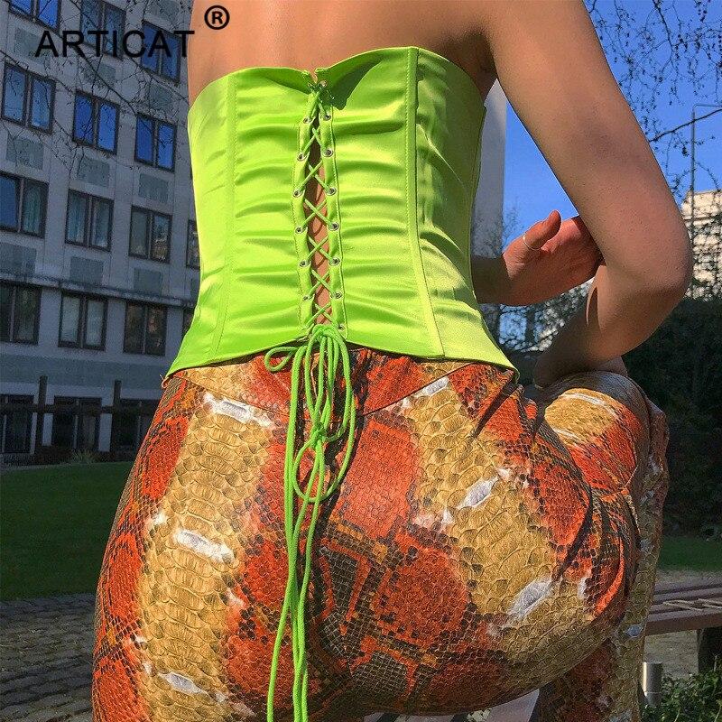 Articat Green Off Shoulder Lace Up Sexy Crop   Top   Women Slash Neck Backless Bandage   Tank     Tops   2019 Spring Streetwear Party   Tops